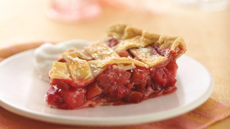 Lattice Top Strawberry Rhubarb Pie