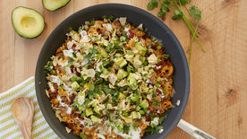 Beefy Bacon Avocado Ranch Pasta Skillet