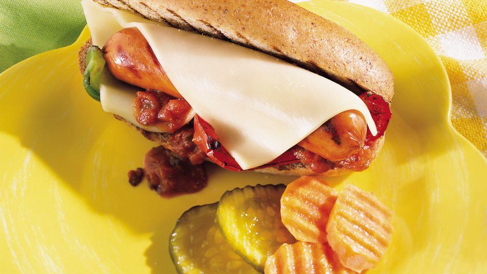 Bratwurst and Mozzarella Sandwiches