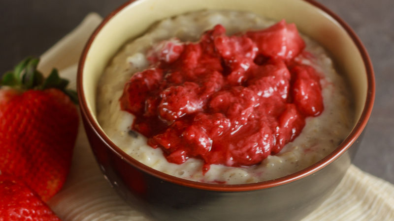 Brown Rice Pudding with Easy Roasted Strawberries