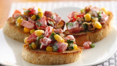 Crab Cake Crostini with Corn and Bacon Salsa