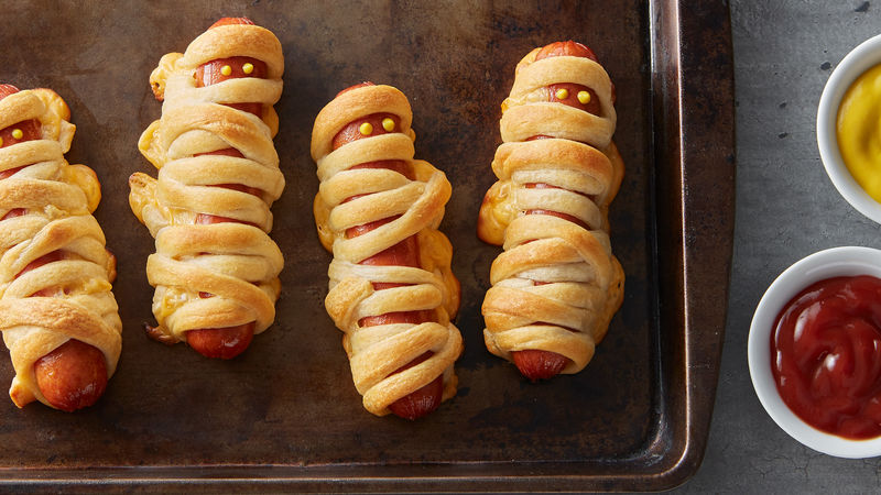 Hot Dogs Wrapped In Crescent Rolls Mummies
