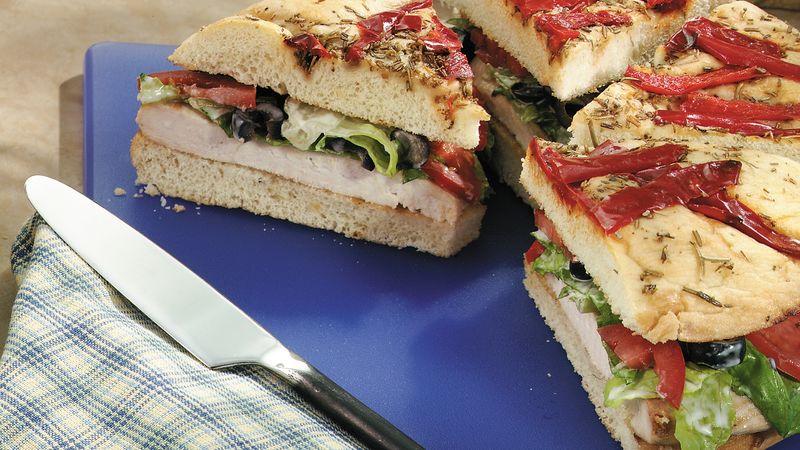 Grilled Chicken Caesar Focaccia Sandwiches