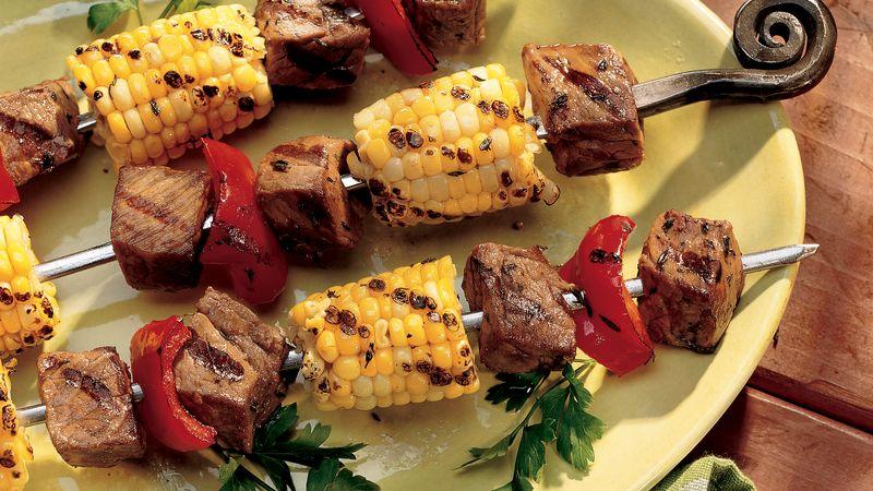 Grilled Beef and Corn Kabobs Recipe - BettyCrocker.com