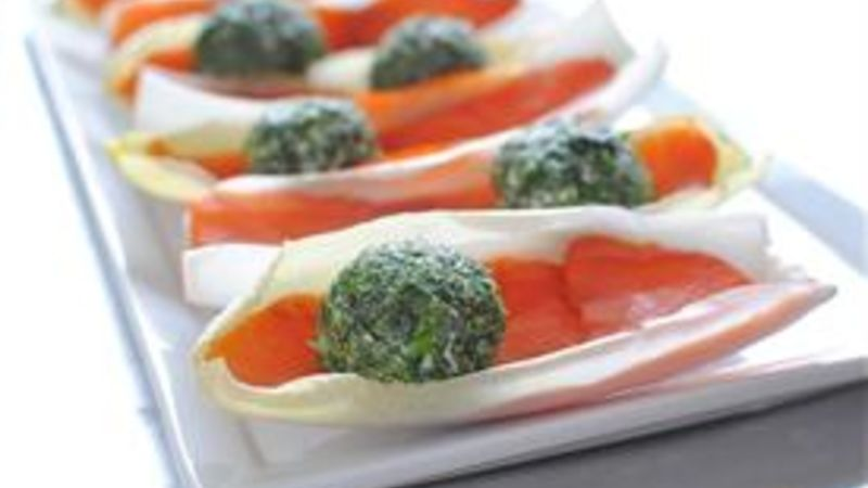 Endive Boats with Herbed Goat Cheese and Lox