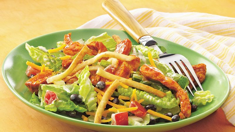 Taco-Seasoned Chicken Salad with Crispy Tortilla Topping