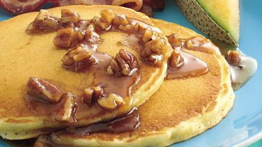 Corn Bread Pancakes with Butter-Pecan Syrup