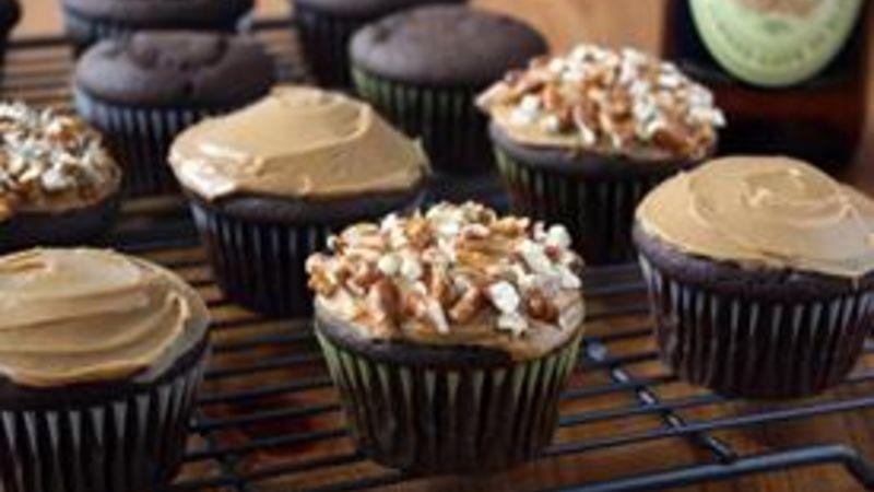 Boozy Chocolate-Vanilla Cupcakes