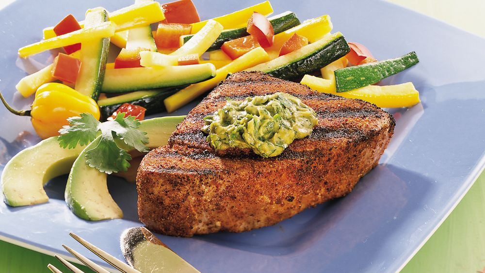 Grilled Tuna with Cilantro-Avocado Butter