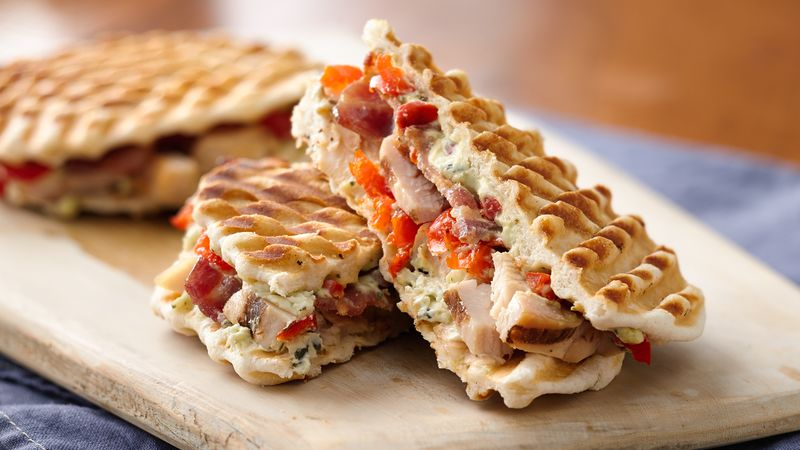 Chicken and Bacon Peppadew Pepper Paninis