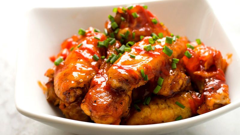 Peach Sriracha Chicken Wings