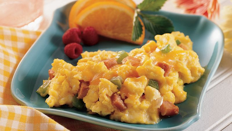 Ham Eggs ham and vegetable scrambled eggs recipe bettycrocker com