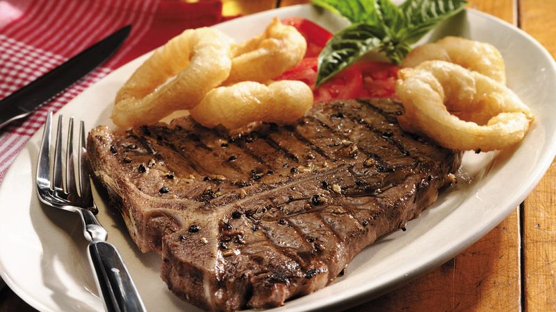Grilled T-Bone Steaks with Onion Rings