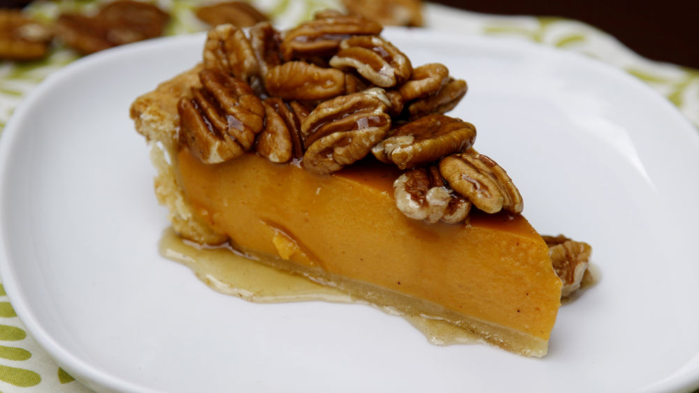 Sweet Potato Pie with Maple Pecan Topping