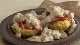 Apple-Topped Biscuits with Sausage Gravy
