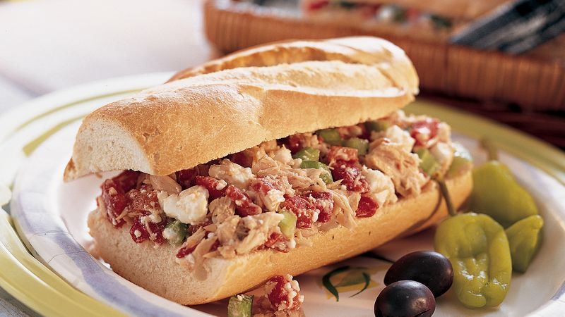 Greek Style Tuna Salad Sandwiches