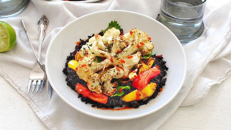 Roasted Cauliflower Steaks over Black Rice