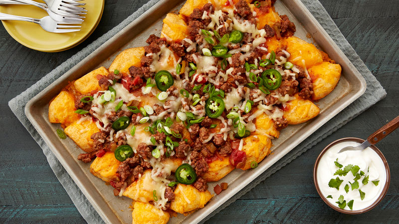 Loaded Beef and Cheese Biscuit Nachos