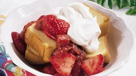 Fresh Strawberry and Rhubarb Sauce over Pound Cake