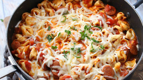 One pot cheesy tortellini and sausage recipe bettycrocker forumfinder Images