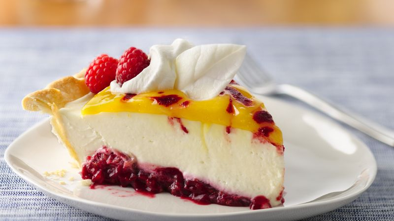 Double Lemon Raspberry Swirl Pie