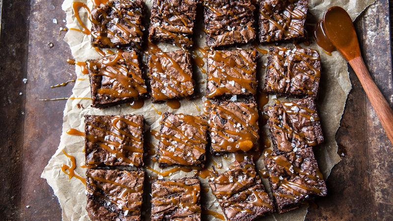 Bourbon Salted Caramel Fudge Brownies