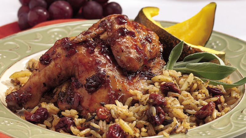 Cherry-Balsamic Cornish Hen with Rice