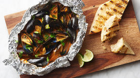 Coconut Curried Mussels Foil Packs