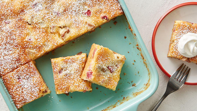 Rhubarb Gooey Butter Cake Bars