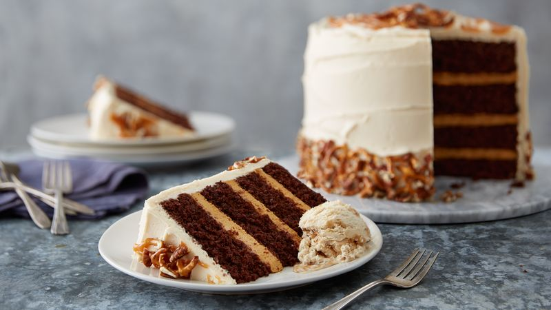 Salted Caramel Cake Recipe sky-high salted caramel chocolate layer cake recipe - bettycrocker