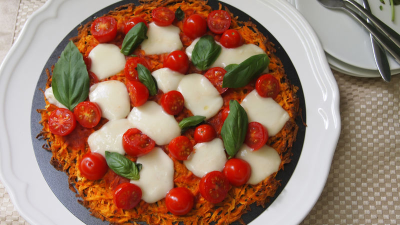 Margherita Pizza with Sweet Potato Crust