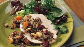 Slow-Cooker Turkey Breast Stuffed with Wild Rice and Cranberries
