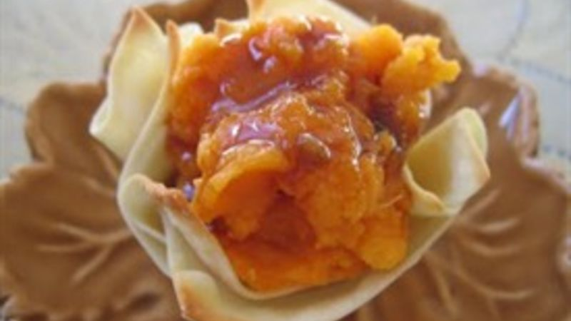 Sweet Potatoes With A Jack Daniel's™ Sauce In Wonton Baskets