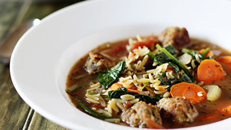 Italian Wedding Soup with Chicken Meatballs