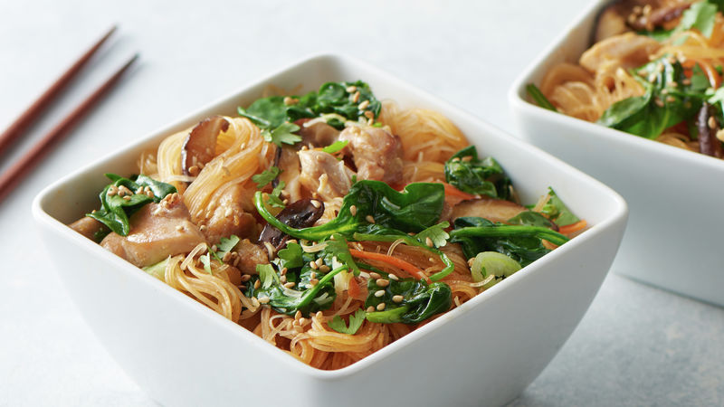 One Pot Stir Fry Rice Noodles With Chicken Recipe Tablespoon Com