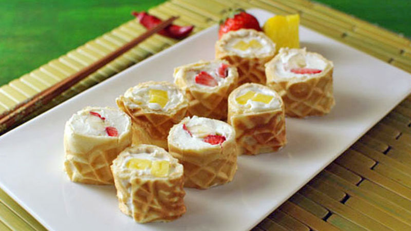Waffle Breakfast Sushi Rolls Recipe Tablespoon Com