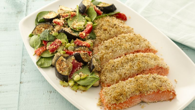 Mediterranean Breaded Salmon with Vegetables