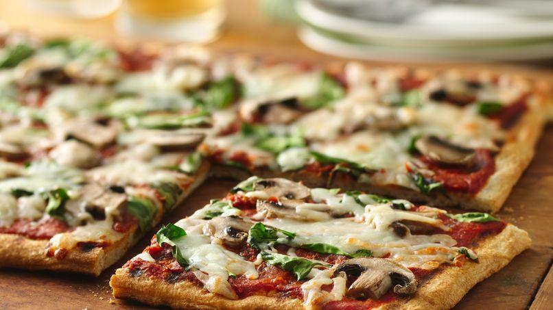 Pizza de Espinaca y Champiñones a la Parrilla