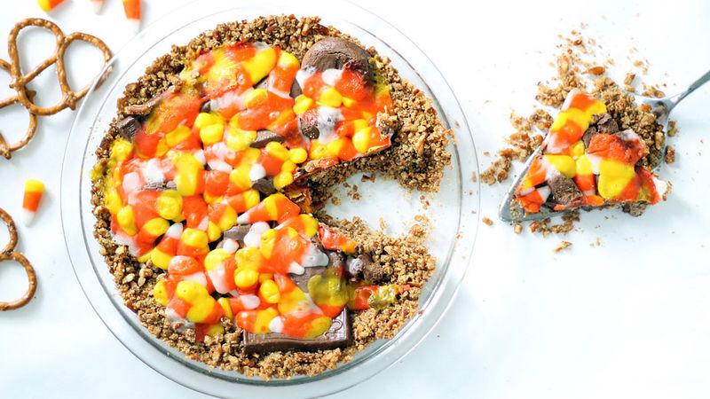 Leftover Halloween Candy Pie with Pretzel Crust