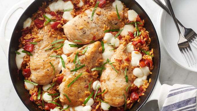 Caprese Chicken and Orzo Skillet