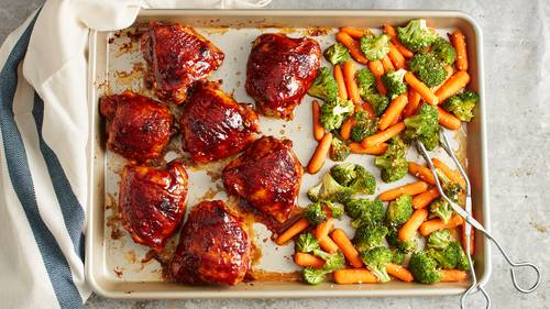 Asian dinner recipes bettycrocker asian barbecued chicken with vegetables sheet pan dinner forumfinder Images