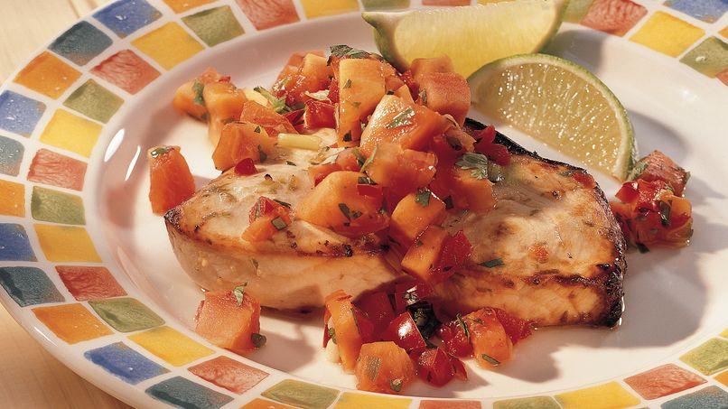 Grilled Swordfish with Papaya Salsa