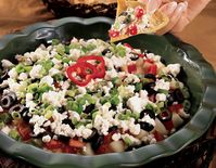 Greek Layered Dip with Pita Crisps