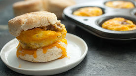 Sausage, Egg and Cheese Muffin-Tin Breakfast Sandwiches