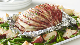 Sheet-Pan Cheesy Hasselback Ham, Potatoes and Asparagus