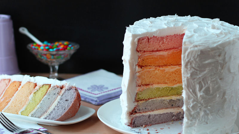 Rainbow Layer Cake With Natural Food Coloring Recipe Tablespoon Com