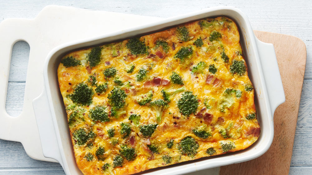 Overnight Cheesy Bacon and Broccoli Egg Bake