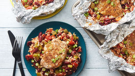 Cajun Pork Chop, Red Beans and Rice Foil Packs