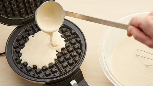 Image result for pour waffle batter in round waffle maker