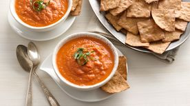 Roasted Carrot and Tomato-Basil Soup